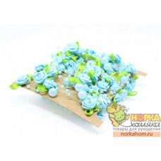 Голубые розы с жемчугом на леске (5 м)