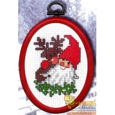 Дед Мороз с оленем (с рамкой)