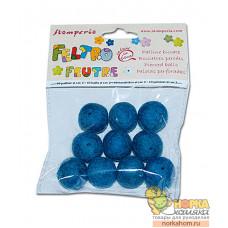 """Бусины из войлока """"Синие"""" (2 см)"""