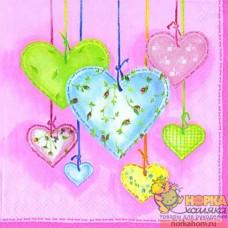 """Салфетка для декупажа """"Сердца с вышивкой на розовом"""""""