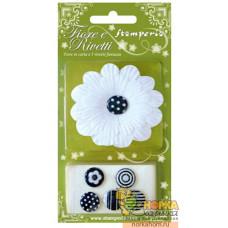 Набор бумажных цветов с креплениями (белый)