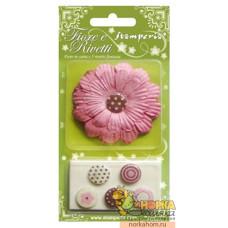 Набор бумажных цветов с креплениями (розовый)