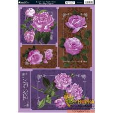 """Вырубные аппликации """"Фиолетовые розы"""""""