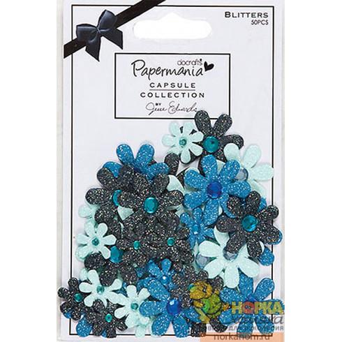 """Декоративные элементы """"Цветы с блестками. Burleigh Blue"""""""