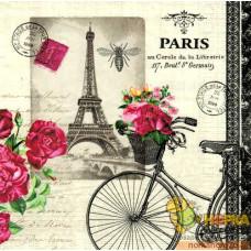 """Салфетка для декупажа """"Парижский велосипед"""""""