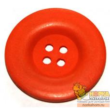 Пуговица деревянная (оранжевая)