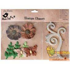 Декоративные бумажные цветы и завитки (коричневые/бежевые)
