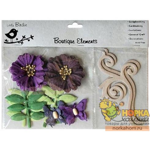 Декоративные бумажные цветы и завитки (фиолетовые/сиреневые)