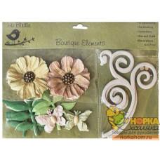Декоративные бумажные цветы и завитки (кремовые/пастель)
