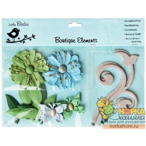 Декоративные бумажные цветы и завитки (голубые/зеленые)