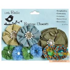 Декоративные цветы из ткани (голубые/зеленые)