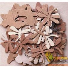 Декоративные бумажные бабочки и стрекозы (коричневые/бежевые)