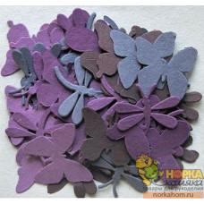 Декоративные бумажные бабочки и стрекозы (фиолетовые/сиреневые)