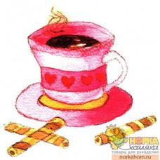 Розовая чашка с трубочками