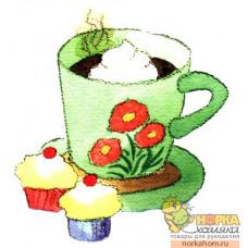 Зеленая чашка с кексами