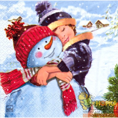 "Салфетка для декупажа ""Ребенок со снеговиком"""