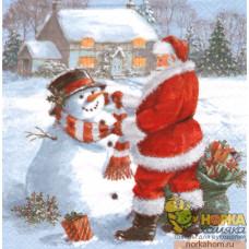 """Салфетка для декупажа """"Санта и снеговик"""""""