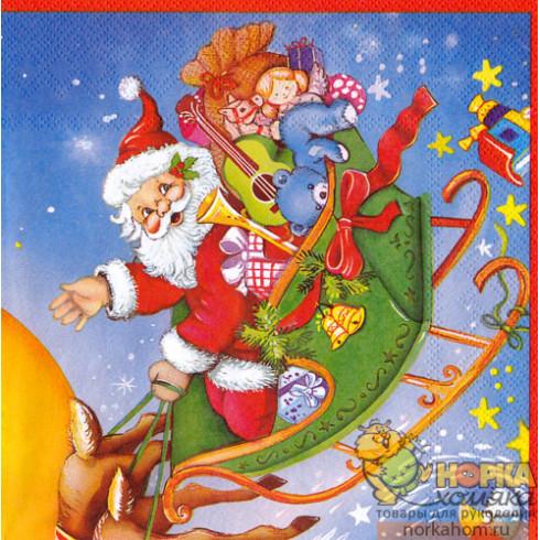 """Салфетка для декупажа """"Санта в санях"""""""