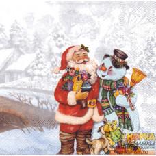 """Салфетка для декупажа """"Санта Клаус и снеговик"""""""
