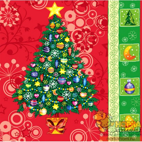 "Салфетка для декупажа ""Новогодняя елка"""