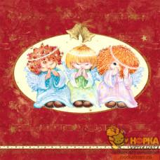 "Салфетка для декупажа ""Три ангелочка"" (бордовая)"