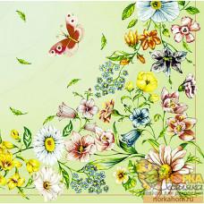 """Салфетка для декупажа """"Полевые цветы и бабочка"""" (салатовая)"""