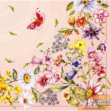 Салфетка для декупажа Полевые цветы и бабочка (розовая)