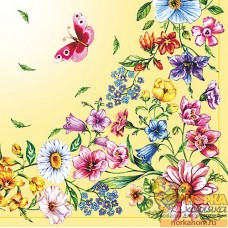 """Салфетка для декупажа """"Полевые цветы и бабочка"""" (кремовая)"""