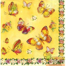 """Салфетка для декупажа """"Бабочки и цветочный орнамент"""""""