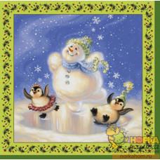 """Салфетка для декупажа """"Снеговик и пингвины"""""""