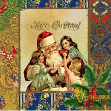"Салфетка для декупажа ""Санта и дети"""