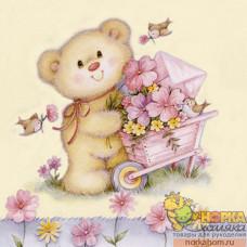 """Салфетка для декупажа """"Мишка с цветами"""""""