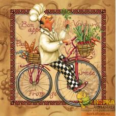 "Салфетка для декупажа ""Повар на велосипеде"" (бежевая)"