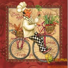 """Салфетка для декупажа """"Повар на велосипеде"""" (бордовая)"""